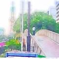 写真: Waterlogue:久屋大通公園の歩道橋 - 2