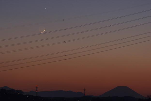 木星、月、水星、そして夕暮れの富士 17:22 2008/12/29