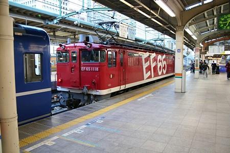急行銀河の客車を切り離したEF65 1118