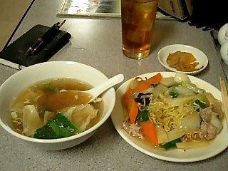 中華街で食べた あんかけそば & ワンタン
