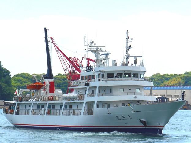 航海実習中の練習船・広島丸の出航