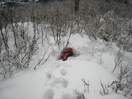 雪に埋もれて起き上がれないサクラギさん